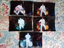 Elvis Presley 5 Photo Fan-Shot 1976 Set in White V-Neck Jumpsuit w/Puffy Sleeves