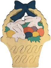 Vtg MIDWEST OF CEDAR FALLS Standing Wooden Easter Basket Puzzle / Decoration