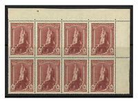 Australia 1948 5/- Robes Thin Paper Top Right Perf Pip Block/8 Stamps MUH 16-1