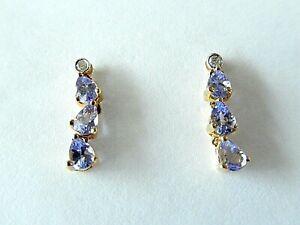 *NWT* 14kt Yellow Gold Tanzanite & Diamond Dangle Earrings