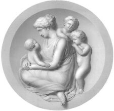 YOUNG WOMAN MOTHER CUDDLES LOVES TRIPLETS NEW BABIES ~ 1859 Art Print Engraving