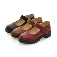 Women Cuban Low Heel Platform Mary Jane Shoes Round Toe Buckle Ankle Strap Flats