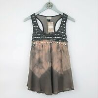 About A Girl sz XS Top Sequin NWT Tie Dye Gray Sleeveless Tank Tunic Blouse