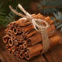 "Cinnamon Sticks 15cm (5"") Long Scented Decoration +Rustic Natural Jute Cord Gift"