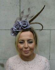 Grey Brown Pheasant Feather Flower Fascinator Headband Headpiece Races Hair 7928