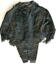 Victorian Black Beaded Mantle Cape Antique Gothic Mourning Clothing Xs S