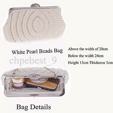 Ivory Handmade Gorgeous Pearl Bead Bag Prom Wedding Evening Clutch Handbag Purse