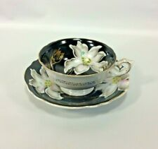 Black Tea Cup Saucer White Stargazer Lily Hand Painted Occupied Japan Prince