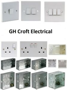 Light Switch Electrical Socket Single Double Moulded/ Metal Boxes  **MULTI-BUY**