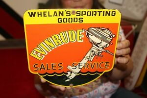 Evinrude Outboard Boat Motors Sales Service Fishing Gas Oil Porcelain Metal Sign