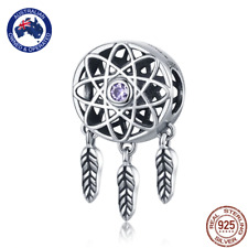 Dream Catcher 925 Stirling Silver Charm with Sparkling Clear Cubic Zirconia v3