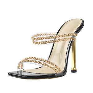 Onlymaker Women's Elegant Squared Toe Stiletto Heel Slip On PVC Chains Sandals