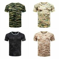 M-3XL Men Camo T-Shirt Military Blouse Short Sleeve Tee Army Camouflage Tops