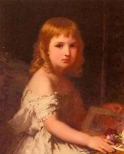 Stunning Oil karl wilhelm friedrich bauerle - little girl with the picture book