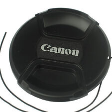 Front Lens cap 55mm center pinch snap on for Canon DSLR camera plastic w/ string