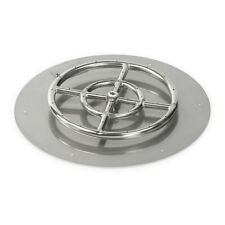 """18"""" Round Stainless Steel Flat Fire Pit Pan w/ 12"""" Burner by American Fireglass"""