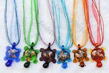FREE Wholesale 6ps Turtle Animal Gold Sand Lampwork Glass Pendants Silk Necklace