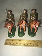VINTAGE TRICO TOY COMPOSITE WWI ERA 3 CALVARY MOUNTED SOLDIERS W HORSES JAPAN EC