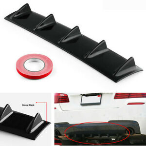 "23"" Shark Fin Car Styling Rear Bumper Lip Air Diffuser Spoiler Kit Gloss Black"