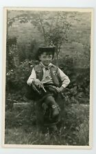 Little Boy dressed in full western cowboy gear vintage RPPC Real Photo Postcard