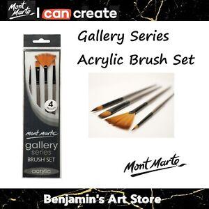 AU 4pc Mont Marte Gallery Series Acrylic Paint Brushes Artist Brush Set Taklon