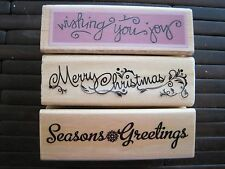 NEW RUBBER STAMPS MERRY CHRISTMAS SEASONS GREETINGS WISHING YOU JOY COLLECTION
