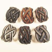 6PC Handmade Bali Beaded Black Multi Color Braided Cuff Bracelet WHOLESALE LOT
