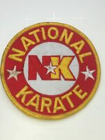 Vtg National Karate NK Martial Arts Uniform Gi Dojo Patch Round Yellow Red