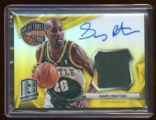 2014-15 SPECTRA GARY PAYTON AUTO #D /10 GOLD REFRACTOR PATCH LOGO ON CARD AUTO !