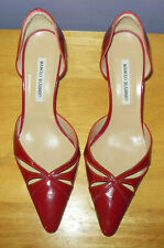Gorgeous Manolo Blahnik Red Patent Pointed Toe D'Orsay Pumps! 40 Euro 10 US