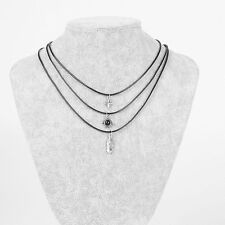 3PCS Women Choker Necklace Natural Stone Feather Pendant Black Leather Chain New