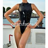 100% Latex Rubber Catsuit Corsets Bodysuit Tights Black Transparent Size  S-XXL