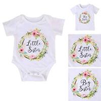 NEWBORN GIRL BABY KIDS LITTLE SISTER ROMPER BODYSUIT BIG SISTER T-SHIRT SMART