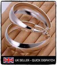 925 Sterling Silver Large Smooth U Shaped Hoop Snap Closure Earrings Gift