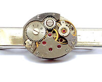 Ruby Watch Movement Tie Clip Steampunk vintage antique groom pin Clasp bar slide