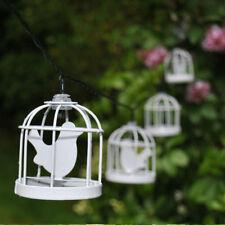 10LED Solar Metal Blanco Jaula de pájaros Farol Cuerda Guirnalda de luces