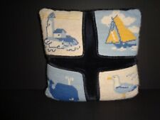 Vintage Handmade Needlepoint Finished Pillow Nautical Theme Seagull Whale Ship