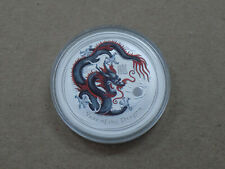 2012 AUSTRALIA YEAR OF THE DRAGON SILVER COIN COLORIZED BLACK & RED