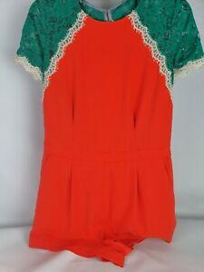 BCBGMAXAZRIA Orange Green Lace Jumpsuit Sz 06