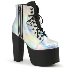 Silver Black 80s Platform Heels Punk Goth Ankle Boots Shoes Demonia Womans 7 8 9