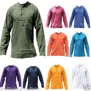 Mens Light Plain Collarless Casual Festival Hippie Full Sleeved Grandad Shirt
