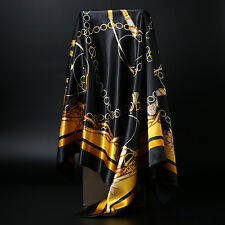Women's Black&Gold Print Hijab Scarf Silk-Satin Square Head Shawl Scarfs 35