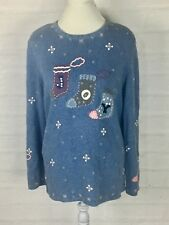 CJ Banks Hand Embroidered Plus Size 1x Snowmen Sweater