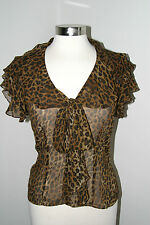 Ralph Lauren Animal Print Short Sleeve Blouse Sheer Fabric size XS Bow 100% Silk