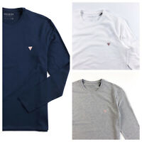 Guess T Shirt Men's Long Sleeve Super Slim Fit Crew Neck Blue White M01I34J1300