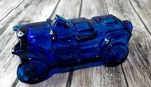 Vintage Avon Stanley Steamer Car Wild Country Cologne EMPTY Blue Glass Bottle