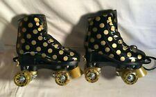 Roller Derby Black Gold Polka Dot Skates girls adjustable Pixie Lucy Small 12J 2