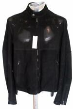 Alfred Dunhill Giacca in pelle nabuk traforato nero EU50 Medio Grande RRP £ 995