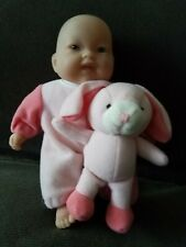 """Berenguer 8"""" Baby Doll With Stuffed Rabbit, Plastic Head & Extremities Soft Body"""