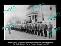 OLD LARGE HISTORIC PHOTO OF ATHENS GEORGIA POLICE DEPARTMENT AT CITY HALL c1911